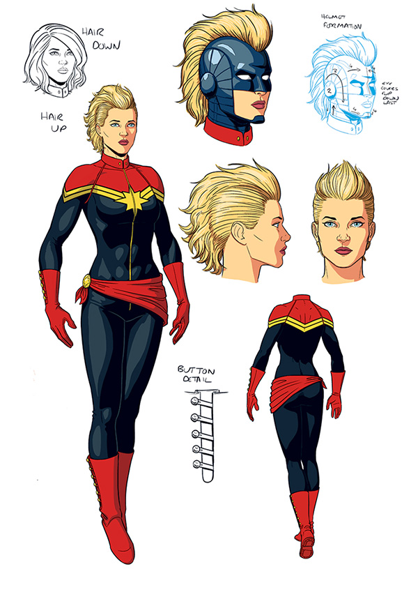 Captain Marvel original costume design by Jamie McKelvie