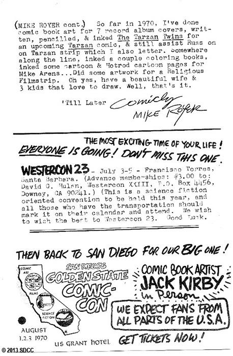 1970 San Diego Comic-Con Program Book Page 6