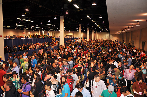 The crowd moves inside at WonderCon Anaheim