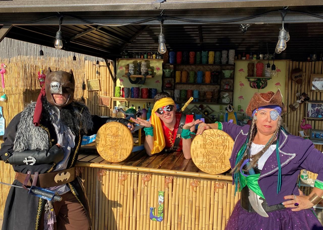 """""""Yo, Ho, Yo, Ho, A Batman's Life for Me"""". Perhaps in some alternate universe, Batman and Robin could be partying pirates? A jovial imagining by Jeanie Lopez, plus Lucas and Joe Queen"""