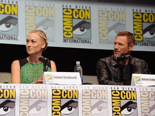 Yvonne Strahovski and Aaron Eckhart at Comic-Con International 2013