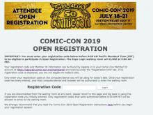 Comic-Con 2019 Open Registration