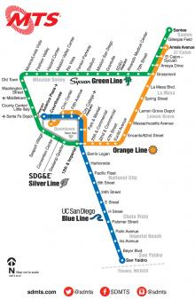 MTS Trolley Lines Map