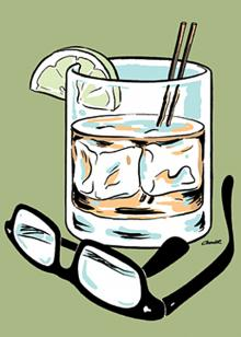 """Drinking Glasses"" illustration for the Portland Mercury"