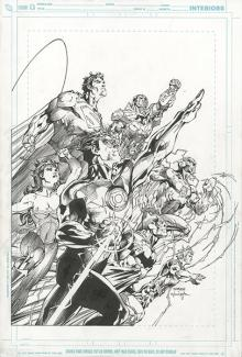Original Justice League art by Jim Lee and Scott Williams for the 2011 Comic-Con International Souvenir Book