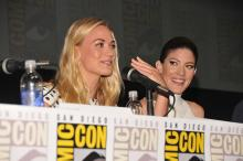 Yvonne Strahovski and Jennifer Carpenter at Comic-Con International 2013
