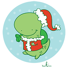 Holiday Dinosaur by Katie Cook
