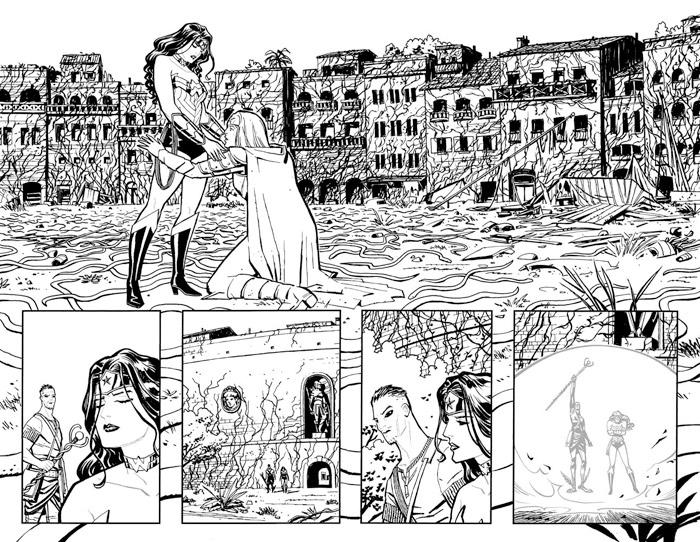 Wonder Woman #27, Pages 4 and 5 Inks