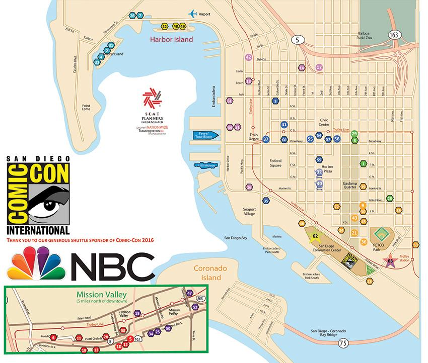 Comic-Con International 2016 Shuttle Bus Map
