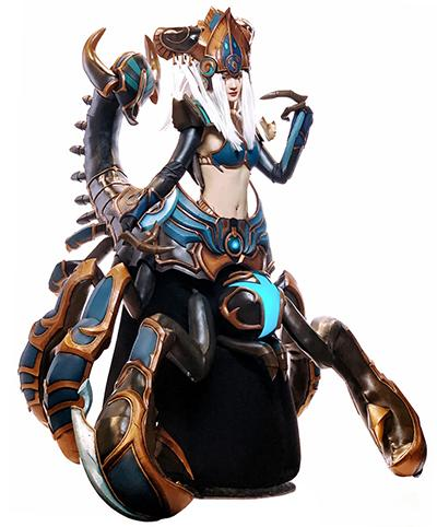 """""""Obsidian Desert Queen Zagara,"""" Broodmother of the Swarm from Heroes of the Storm by Korean cosplayer MyBoo Cosplay"""