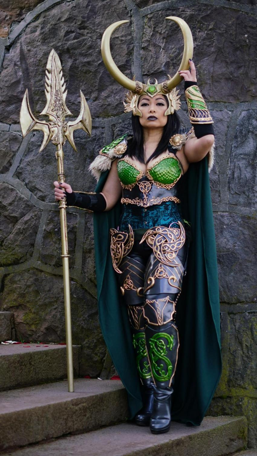 """Most Beautiful: """"Lady Loki in Armor"""", a striking original interpretation of the character in resplendent battle armor and impressive weapon too, designed and crafted by VivSai"""