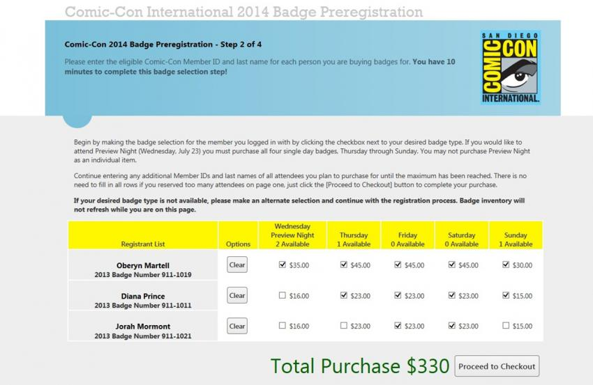Comic-Con International 2014 Badge Selection Screen