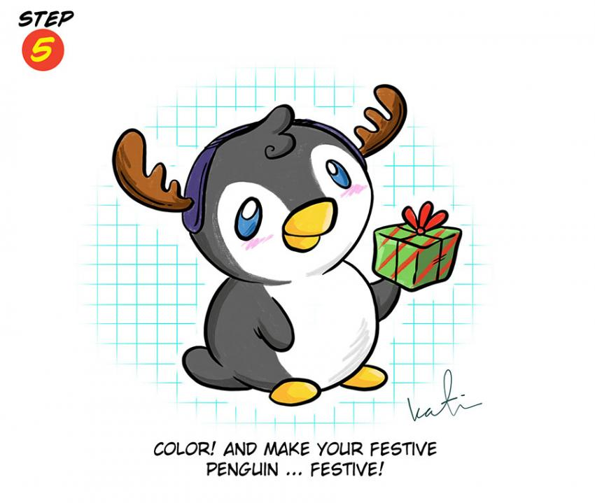Katie Cook: How to Draw a Festive Penguin