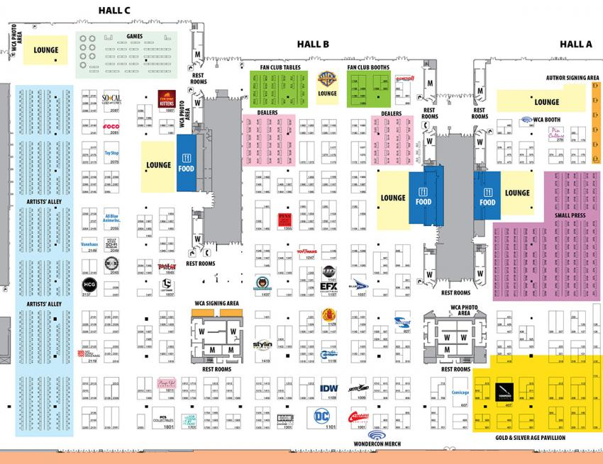 WonderCon Anaheim 2018 Exhibit Hall Map