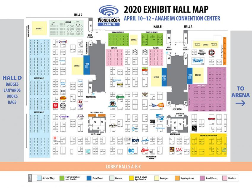 WonderCon Anaheim 2020 Exhibit Hall Map